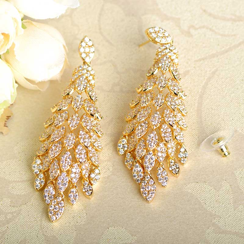 Blucome Sparkling Cubic Zirconia Earrings Fashion Jewelry For Women Gold Color Brincos Pendientes Bridal Wedding Party Bijoux