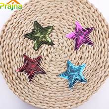 New Arrival 4 Design Blue Star Patch Badge For Clothes Stickers Iron On Cheap Cartoon Sequin Patches Applique For Kids Clothing(China)