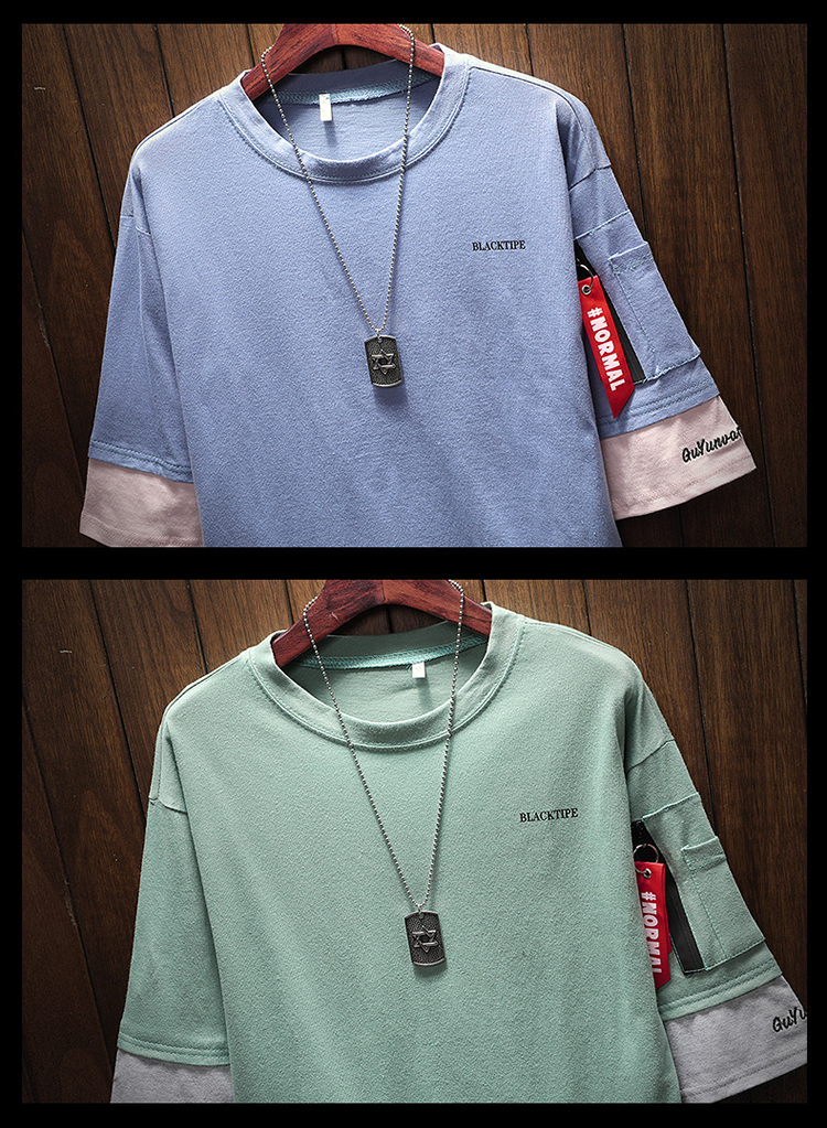 Men's Short Sleeve T-shirt 5-5 Sleeve Summer Korean Fashion Hip-hop Fake Two Loose Chao Brand 7-Sleeve Half Sleeve male MP191 18