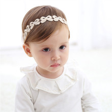 New Baby Gold Bow Headband Cute Children Spring Spun Gold Leaf Lace Hairbands Kids Toddlers Birthday Hair Accessories Head Warp(China)