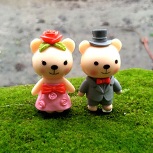 2Pcs Cute Bear Couple Lover Wedding DIY Resin Fairy Garden Craft Decoration Figurines Miniature Micro Gnome Terrarium Gift