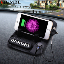 Multi-functional Magnetic Charge Silicone Car Sticky Anti-Slip Mat Mobile Phone Car Navigation Holder USB Charger for iphone 7 8(China)