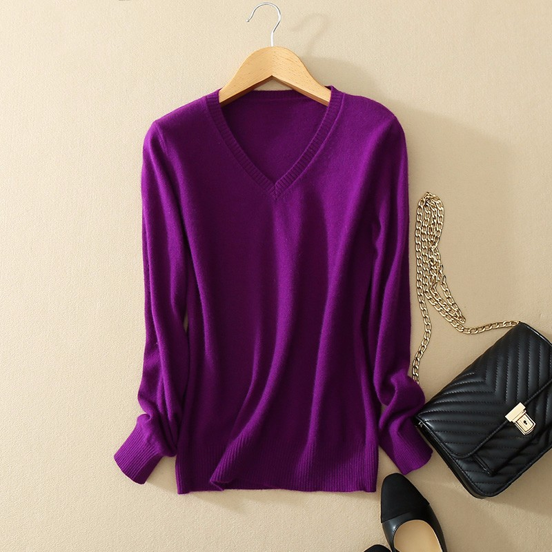 Cashmere Sweater V Neck Women Fashion Autumn Pullovers Knit Cashmere Sweater Women Slim Knit Coat Female Blouse Winter Knitwear 13