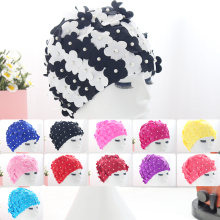 NEW 12Colors swim cap Lady Womens handwork Pearl Swimming Hat Swim Bathing Caps Islamic Turban Elasticated Beach Gift Free ship