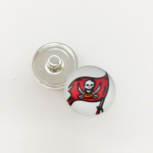 20pcs Football Tampa Bay Buccaneers Sports Team Metal Button Snaps Jewelry For Good Quality Charm Bracelet(China)