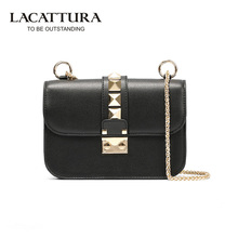 T0030 2017 High Quality genuine Leather Women small chain Rivet Bags Women mini shoulder Messenger Bag Handbag Femininas Bolsas(China)