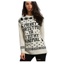 women fashion digital knitted sweater women merry christmas ya filthy animal pullover sweater womanbeigeone s