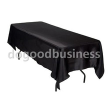 5pcs/ Pack 60 x 126 inch Rectangular Satin Tablecloth White/Black Table Cover for Wedding Party Restaurant Banquet Decorations