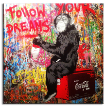 1 Pcs Wall Pictures For Living Room Banksy Art Monkey Writing Follow Your Dreams Oil Painting On Canvas Graffiti Street Artwork