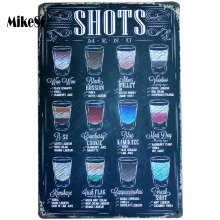 [ Mike86 ] SHOTS MENU Metal Signs Room Art Vintage Wall Painting Retro Pub Bar Home Party Decoration 20X30 CM AA-482