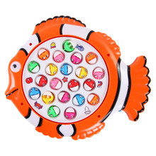 Plastic Electric Rotating Magnet Fishing Game Kid Children Educational Toy Puzzle Toy Electric Music Plate Game T30
