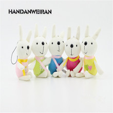 2017 HOT 12PIECE /LOTS 13CM Small rabbit mobile phone pendant plush toy doll wedding event,small gift doll mini cute soft(China)
