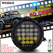 1Pcs WEISIJI 75W with Cree Chips 5D High/Low Beam with DRL 7'' LED Driving Headlight for Hummer Jeep Wrangler/Motorcycles