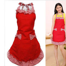 Retro Women Bowknot Restaurant Kitchen Bib Chef Cooking Apron Dress With Pocket