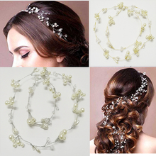 Crystal Pearls Hairbands Wedding Headband Bridal Headpieces Bride Head Chain for Bridesmaid Flowergirls Long  Hair Accessories
