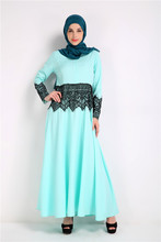Make the Muslim amazon selling lace stitching in the Middle East Muslim long-sleeved dress # 8091