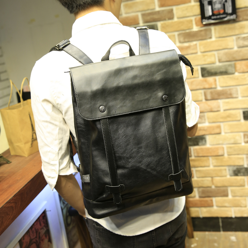 New Korean Style Men Backpack Top Quality PU Leather Double Shoulder Bags School Bag Book Rucksack for male outstoor tote<br>