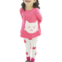 ABWE Girls Sets Kids Apparel spring autumn 2pcs Set cloth shirt+pants children clothing suits sportswear set rose red