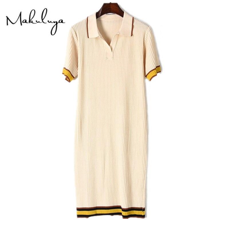 Makuluya Women Vintage Elegant Summer New Fashion Loose PL Lapel Knitted  Dresses Short Sleeved Lady Female Spring Striped QWÎäåæäà è àêñåññóàðû<br><br>