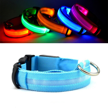 LED Dog Collar Flashing In Dark Nylon 3 Mode Lighting Safety LED Pet Collar 2.5cm Wide Luminous Pet Products For Small Dogs(China)