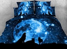 Comforter Sets Full Size Luxury Blue Wolf and Galaxy Bedding 1 Black Bed Sheet(China)