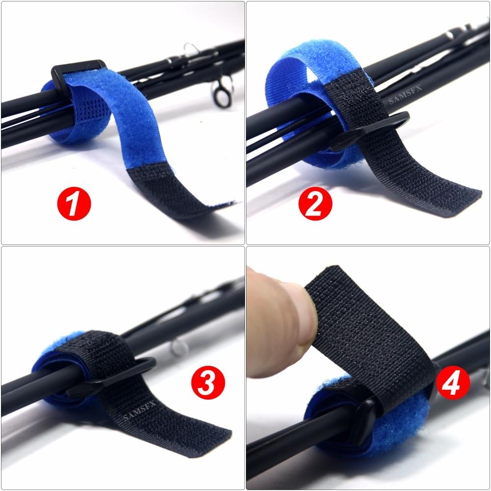 SAMSFX Quick Rod Tie Strap Fishing Rod Bungee Leash Pole Ultimate Ties Organizer