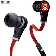 MLLSE Anime One Piece Luffy Skull In-ear Earphones 3.5mm AUX Wired Stereo Earbuds Phone Headset for Iphone Samsung Xiaomi PC PS4(China)