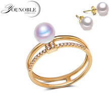 Real Wedding 18K Yellow Gold Ring,Round Seawater Akoya Pearl Ring Fine Jewelry Anniversary Women Girls Gift in Box(China)