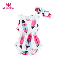 Buy Summer 2018 Infant Kids Baby Girls Sleeveless Feather Romper Jumpsuit+Headband 2PCS Set baby girl clothes drop shoping#YY for $3.38 in AliExpress store