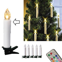 10pcs Christmas Tree Decoration Wireless LED Candles 12 Colors Remote Control Battery Operated Light for Hallowmas Party Wedding(China)