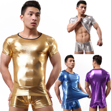 Buy New Hot Faux Leather Latex Mens Teddy Bodysuit Shiny Wetlook Elastic Undershirt Lingerie Sets Gay Male Boxer Underwear L037