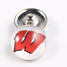 Wisconsin Badgers 18mm Snap Button Fit Ginger Snap Bracelet Bangles NCAA Football Baseball Series Jewelry 10PCS
