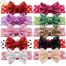 "Retail 1PC Trendy European Minnie Mouse Big Dot 5"" Sequins Bow Princess Girls' Elastic Headband DIY Headwrap For Kids Bandeau"