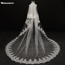 2017 velos de novia 3 Meters 2T White&Ivory Sequins Blings Sparkling Lace Edge Purfle Long Cathedral Wedding Veils V1100(China)