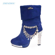 Women's shoes 2017 autumn The new female boots Female solid metal tassel high heels with big boot Fashion Martin boots