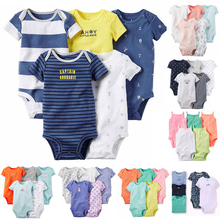 Baby Girl and Boys Clothing Set Short Bodysuit 5 pcs pack set Summer Bebes Girl and Boys carter Cotton Flower(China)