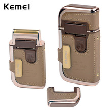Kemei Electric Rechargeable Men Shaver Razor Vintage Leather Wrapped Electric Shaving Machine Noble Models