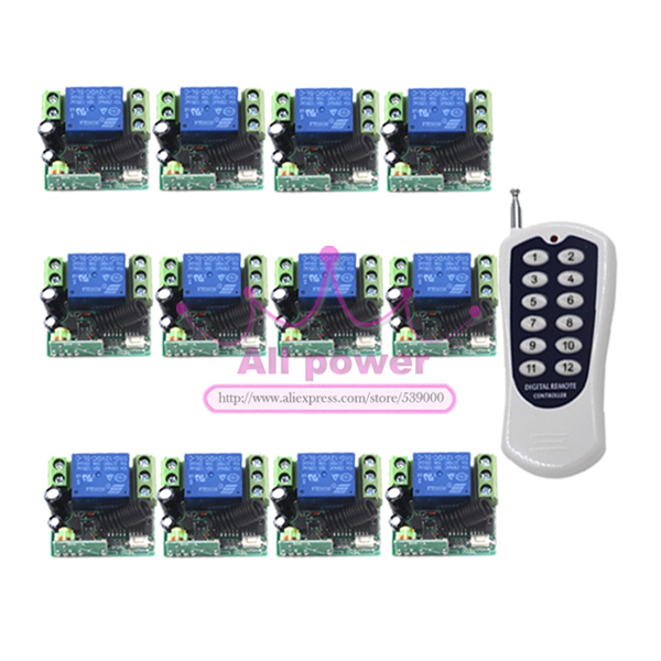 DC 12V 315MHz 1Channel Wireless Remote Control Switch System 1 Transmitter + 12 Receiver<br>