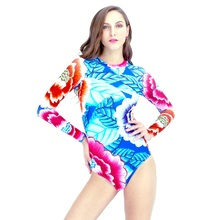 Sexy Long Sleeve Swimwear Floral Printed One Piece Swimsuit Women 2017 New Shape Body Beachwear High Neck Zipper Swimming Suit L(China)