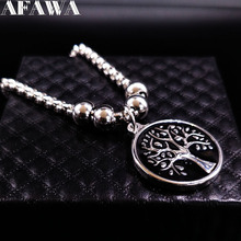 2017 Black Enamel Bracelets Women Silver Color Tree of Life Stainless Steel Bracelets Bangles Jewelry bracelet femme B61429