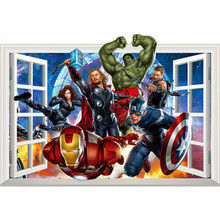 The Avengers movie fake window stickers Super Heroes anime figures 3d vinyl wall decals for kids rooms decoration marvel posters(China)