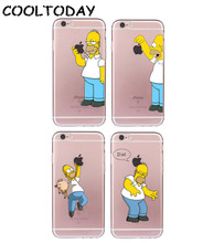 1PC Homer Simpson Case for iPhone 4 4S 5 5S SE 6 6S Plus 7 8 Plus Funny Fundas Soft TPU Silicone Transparent Coque(China)