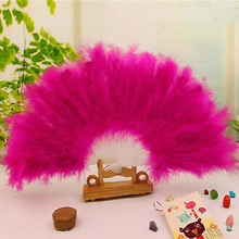 Vintage Chinese Folding Fan Show Girl Dance Stage Show Feather Folding Summer Hand Fan Pocket 13 Colors