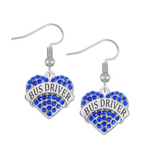 Personalized Engraved Diy Metal Alloy Rhodium Plated Crystal Hearts Bus Driver Earring(China)