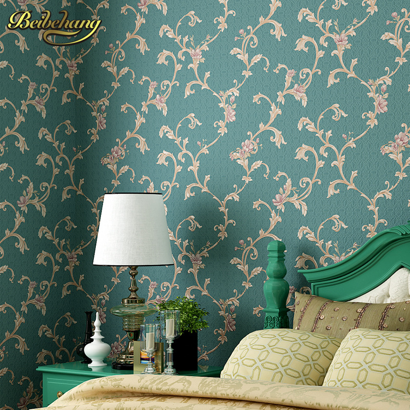 beibehang American Retro Pastoral Flowers Wall papers Living Room Bedroom Overfloor Sofa Background Wallpaper Waterproofing pvc<br>