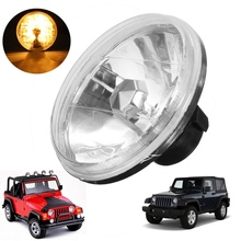 7 Inch Motorcycle 55W H4 Hi/Low Halogen Semi Sealed Headlight Amber LED Turn Signal Lamp Fits For Jeep/Wrangler