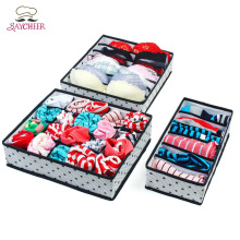 Non-woven Foldable Storage Boxes Underwear Bra Closet Organizer For Socks Ties Lingerie(China)