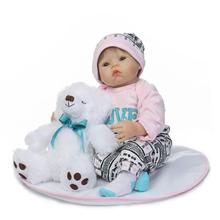 "22"" 55cm baby doll reborn toys silicone reborn dolls for children gift with large bear stuffed doll bebe real reborn bonecas"