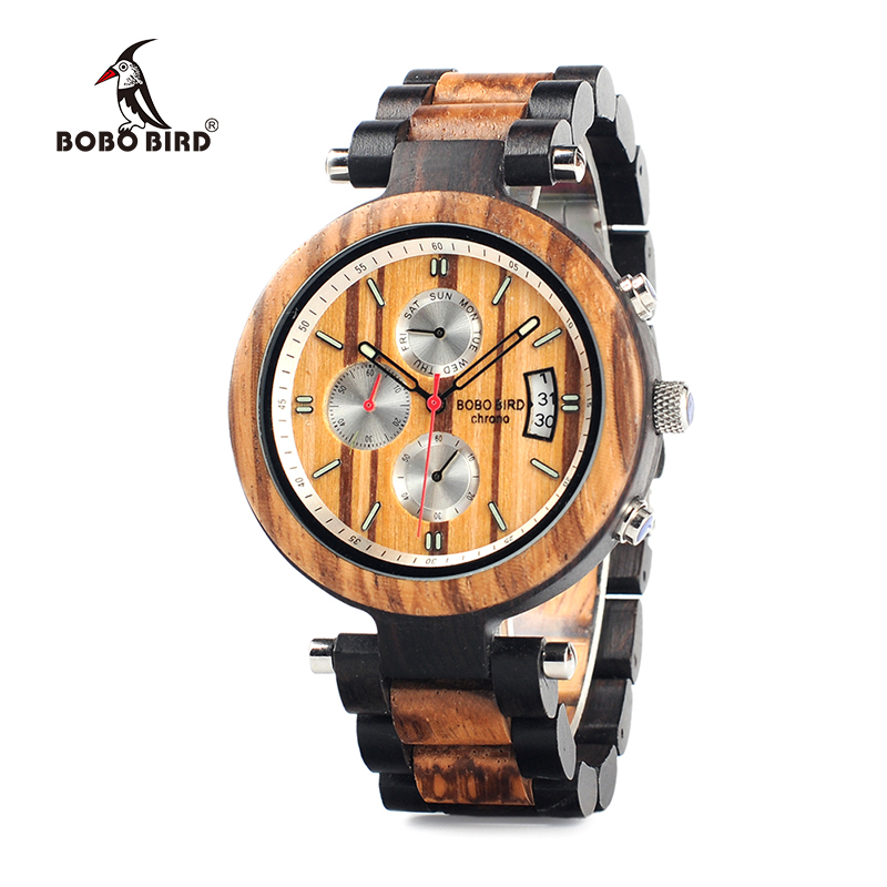BOBO BIRD WP17 Men Wood Multi-function Ebony Watches Wood Band Fashion Quartz Male Clock Back Cap Custom Watch<br>