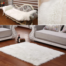 Long Faux Fur Artificial Skin Rectangle Fluffy Chair Seat Sofa Cover Carpet Mat Area Rug Living Bedroom Home Decoration White